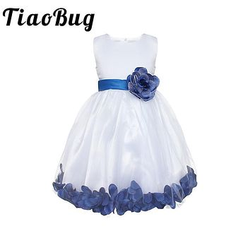 TiaoBug New 8 Colors Baby Flower Girl Dresses Rose Petals Princess Pageant Party Dresses Formal First Communion Tulle Lace Dress