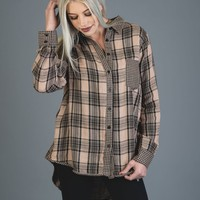 Mocha and Black Checker Button Up Top