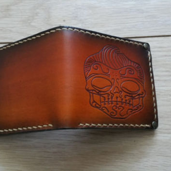 leather chain wallet - leather bifold