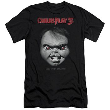 Childs Play Slim Fit T-Shirt Chucky Look Whos Stalking Black Tee