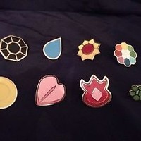 Pokemon: Kanto Gym Badges - Gen 1 - Set of 8 Metal League Pins Beautiful! WORLD!