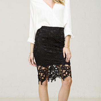 Vine Crochet Lace Pencil Skirt