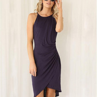 Dark Purple Wrapped Asymmetrical Sleeveless Dress