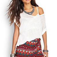 FOREVER 21 Tribal Print Wrap-Front Shorts Red/Multi