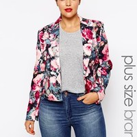 Paper Dolls Plus Rose Floral Tailored Jacket - Rose print