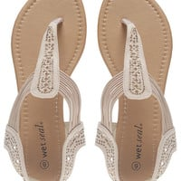 Bling Perforated T-Strappy Sandals | Wet Seal