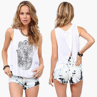 Floral Printed Loose Backless Round Necked Top Women Tank Vest T-Shirt Top
