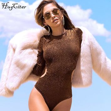 Hugcitar long sleeve sexy goldern solid body suit 2017 autumn winter women O-neck hollow   bodysuit female