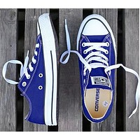Converse New fashion canvas solid color couple shoes Navy blue