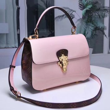LV  Louis Vuitton New patent leather messenger bag portable Messenger bag handbag sides edge logo pink