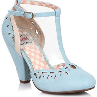 Powder Blue Perforated Leatherette Elsie Vintage T-Strap Pumps