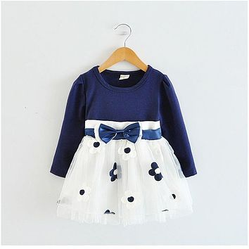 Kids Dresses for Girls 2018 Winter Cotton Flower Baby Dress Clothes 1 year Newborn Girl Clothing vestido infantil de bebes fille