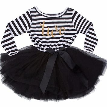 Newborn Baby Girl Dress Stripe Kid Boutique Clothing Baby Kids Frocks Designs Children Party Dresses For Toddler Girls 0- 2Years