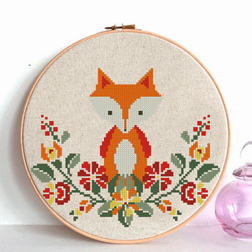 fox baby nursery cross stitch pattern pdf baby Nursery decor wreath flowers cross stitch Woodland Animals unique baby gift needlecraft