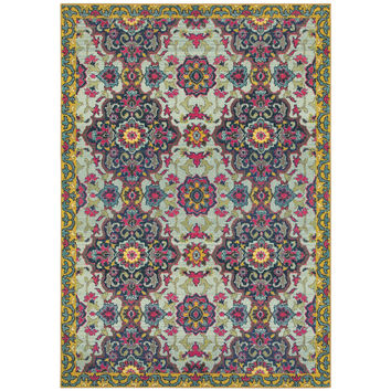 Oriental Weavers Bohemian 539E5 Blue/ Yellow Border Area Rug