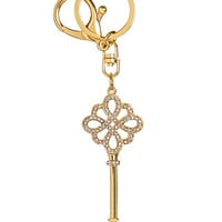Gold Plated Hollow Out Key Rhinestone Keychain