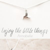 """Enjoy the Little Things"" Delicate Hummingbird Silver Plated Necklace"