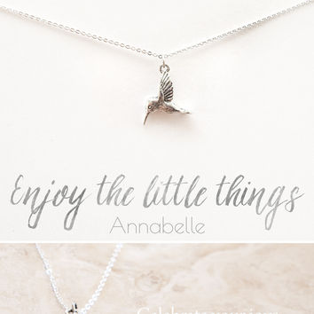 """Enjoy the Little Things"" Personalized Delicate Hummingbird Necklace"