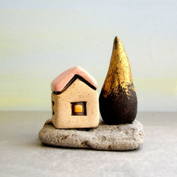 Sculpture , Little house and tree , Rustic cottage , Beach house , Little gift , Housewarming gift , Tabletop Decor , Gift For Home , Israel