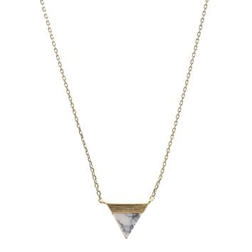 Handmade Triangle Gold Bezel Natural Stone Necklace
