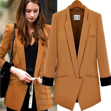 S-XL 2017 NEW European American Style Women Blazer Spring New Long-Sleeved Hit Color Stitching Slim Small Jacket Women's Suit
