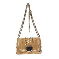 Jimmy Choo Women's LOCKETTPETITEUPKHAZEL Beige Suede Shoulder Bag