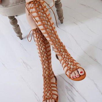 Brown Lace Up High Leg Flat Gladiator Sandal