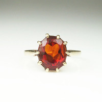 Vintage Ring 10K Gold 5 Carat Citrine Jewelry Size 9