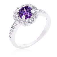 Amethyst Halo Engagement Ring, Amethyst Ring, CZ Ring, Halo Ring, CZ Wedding Ring, CZ Engagement Ring, 2.1 ct February Birthstone Ring