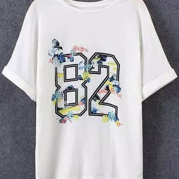 Bat Sleeve Cuffed Number Print T-shirt in White