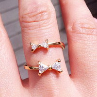 Double Bow Rhinestone Cuff Ring (Adjustable Band)