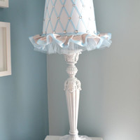 Princess Lamp Shade in Sky Blue, Silver and White.