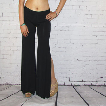 High Waisted Black Side Slit Flare Pants palazzo wide leg boho beachswim coverup flowy