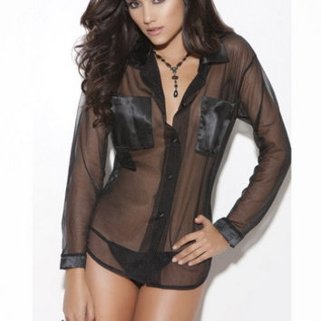 V-neck Long Sleeve Mesh Sleepwear