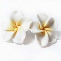 Plumeria Frangipani White Earrings, Hawaii Flowers leverback earrings
