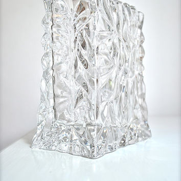 1970s West German Icy Crystal Bag Vase Rosenthal Studio Linie