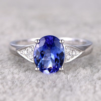 2.15ct Oval Blue Tanzanite Engagement Ring Diamond Wedding Ring 14K White Gold Ball Prong set