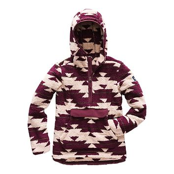Women's Campshire Sherpa Fleece Pullover Hoodie in Dune Beige California Basket Print by The North Face