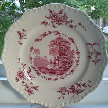 Masons Watteau Pink (Red) Ironstone China Salad Plate 8""