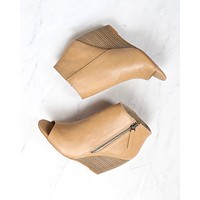bc footwear rebellion peep toe wedge heel booties - taupe