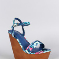 Shoe Republic LA Floral Faux Wooden Platform Wedge