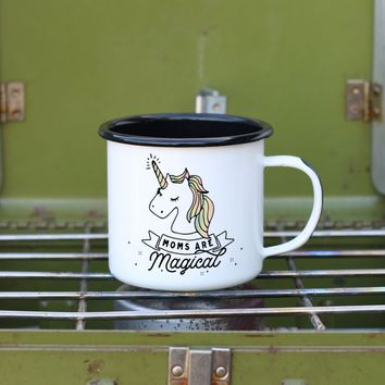 Moms Are Magical Unicorn Enamel Camping Coffee Mug