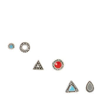 Gold Plated Sterling Silver Multi Shape Red & Blue Earring Pack