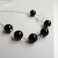 Onyx stones necklace rock crystal chain black white modern minimalist