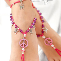 Barefoot Sandals. Gift For Her. Peace Sign Barefoot Sandle