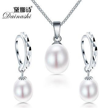 Freshwater Pearl Necklace Jewelry Set! Classic 925 Sterling Silver