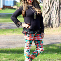 Aztec Coral/Green Print Leggings