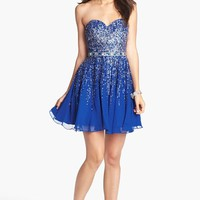 Women's Sherri Hill Embellished Sweetheart Fit & Flare Silk Dress (Online Only)