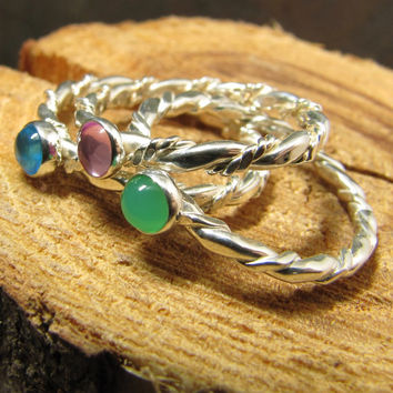 Argentium Sterling Stack Ring Set