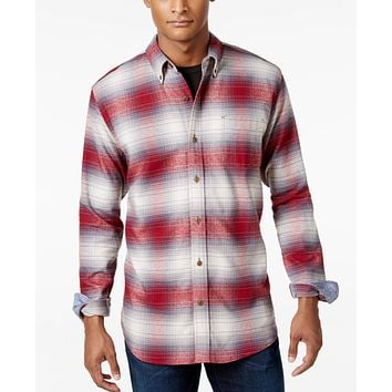 Weatherproof Vintage Mens Plaid Flannel Shirt Red